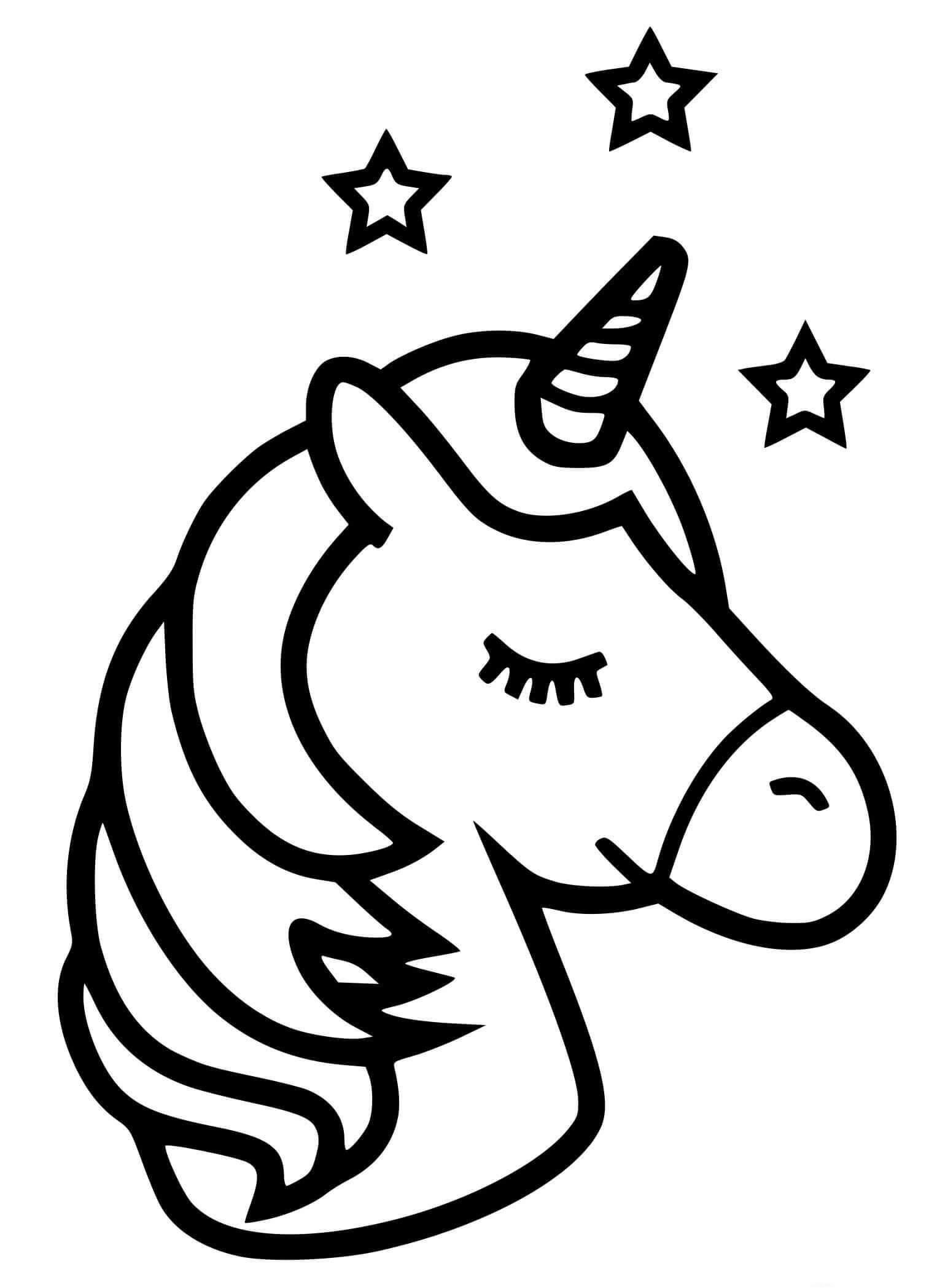Desenhos de Unicorn Emoji Fofo para colorir