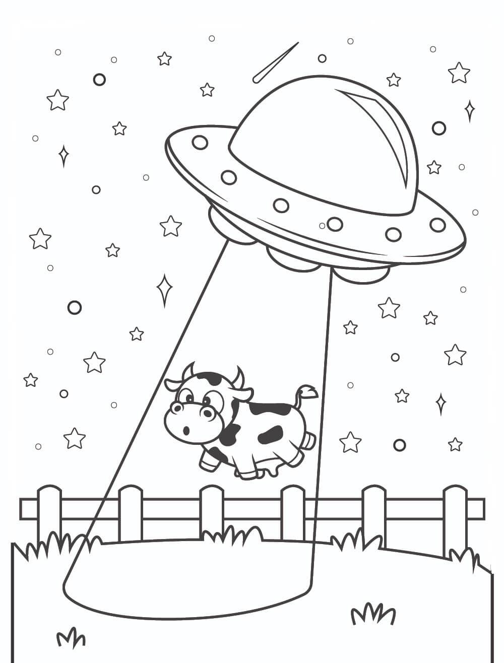 Desenhos de Vacas Pegando OVNIs para colorir