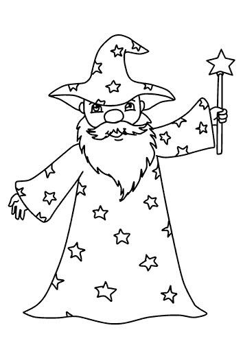 Desenhos de Velho Mago E Estrela para colorir