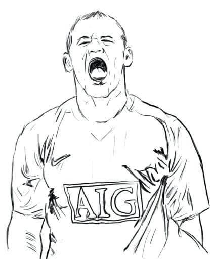 Desenhos de Wayne Rooney Gritar para colorir