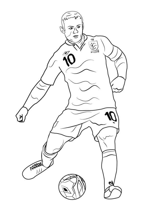 Desenhos de Wayne Rooney Jogando Futebol para colorir