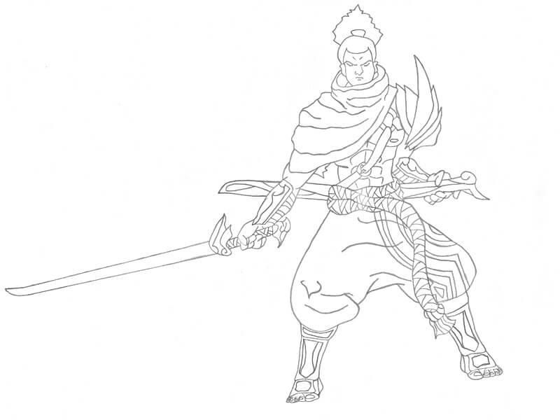 Desenhos de Yasuo E Espada para colorir
