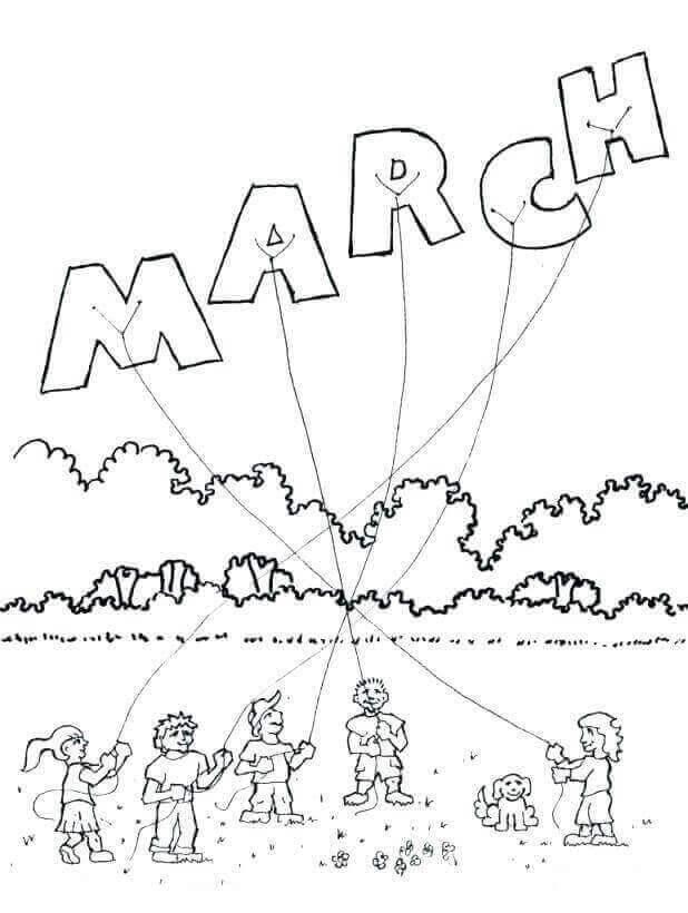Desenhos de Março para Colorir