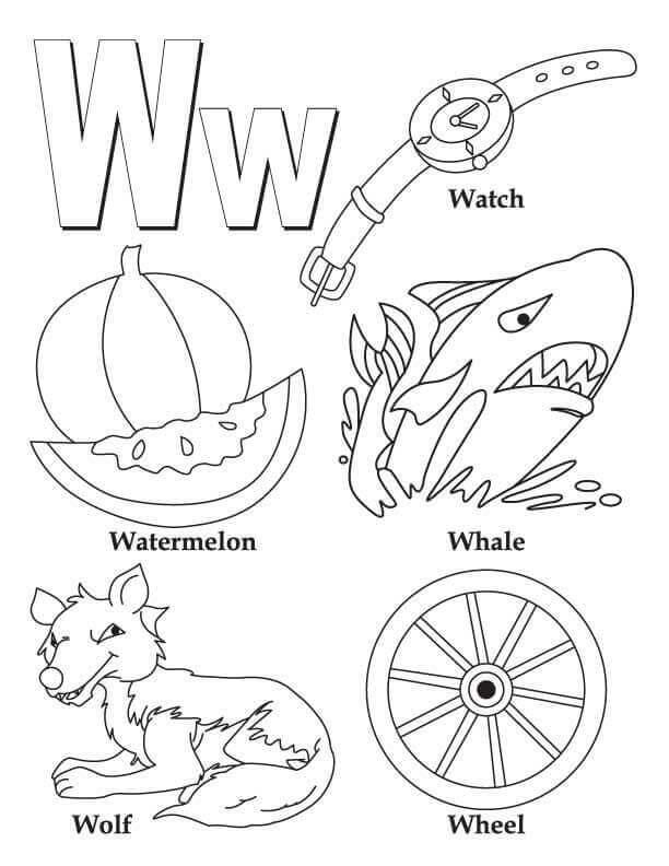Desenhos de Letra W para Colorir