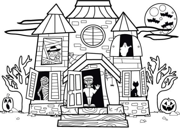 Desenhos de Casa Assombrada para Colorir